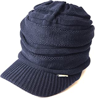 CHARM 夏用 ニット帽 [ フリーサイズ / 全10色展開 ] ニットキャスケット つば付き 帽子