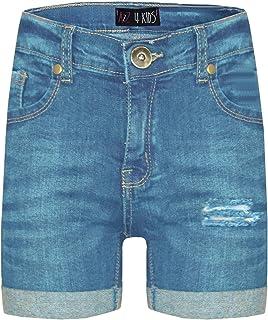 Kids Girls Shorts Designer's Denim Ripped Chino Bermuda Jeans Shorts 5-13 Years