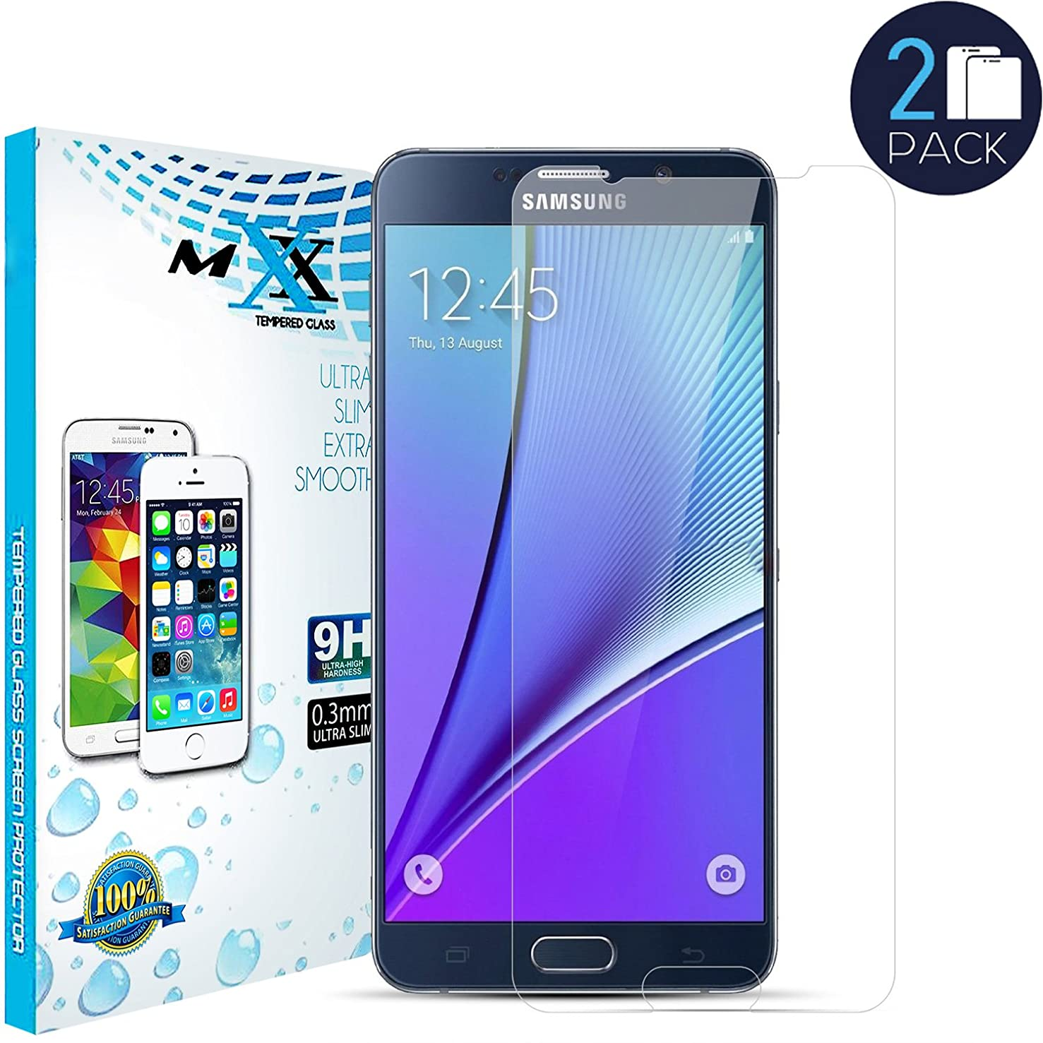 MXX Note 5 Screen Protector - Premium Ultra-Clear High Definition - Screen Protectors - Tempered Glass for Samsung Galaxy Note 5 - (Pack of 2)