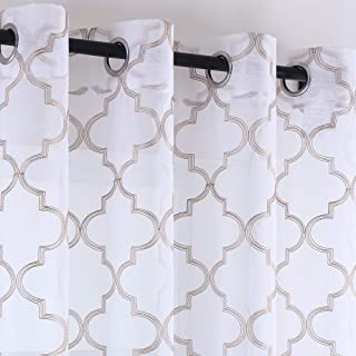 KEQIAOSUOCAI Taupe Curtains Quatrefoil Pattern Grommet Sheer Drapes for Dining Room 63 Inches Long Faux Linen Embroidered Moroccan Tile Window 2 Panels Curtains 52x63
