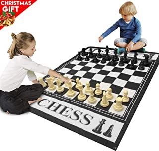"EasyGo Giant 3' X 4' Mat Chess Game - Indoor Outdoor Family Game - Lawn Game -Piece Range from 3-6"" Tall"