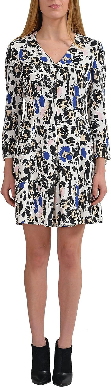 Just Cavalli Women's Multicolor Long Sleeve VNeck Sheath Dress US 4 IT 40