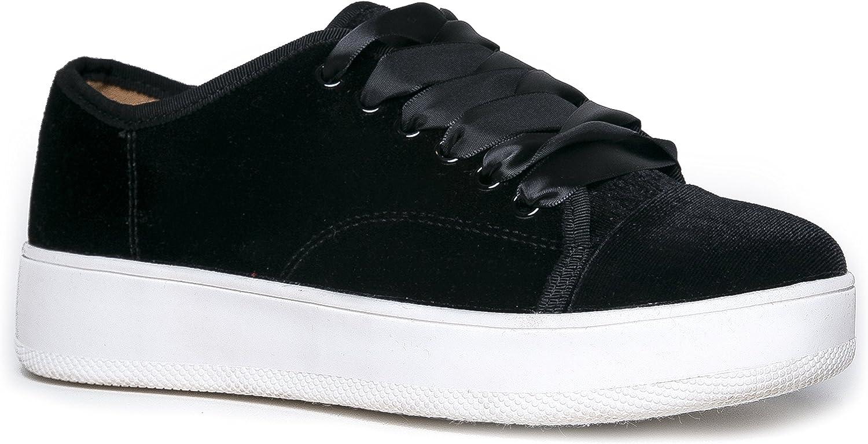 Wild Diva Velvet Platform Sneaker - Tam