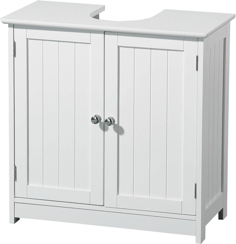 Premier Housewares - Mueble para Debajo del Lavabo (Madera, 2 Puertas), Color Blanco