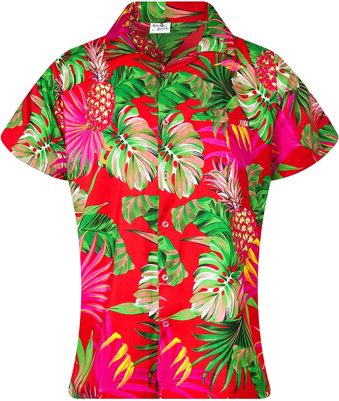 KING KAMEHA Funky Hawaiian Blouse Shirt, Shortsleeve, Print Pineapple Leaves, Red, S