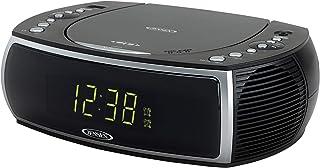 Jensen Modern Home CD Tabletop Stereo Clock Digital AM/FM Radio CD Player Dual Alarm Clock Stereo CD Top-Loading Disc Play...