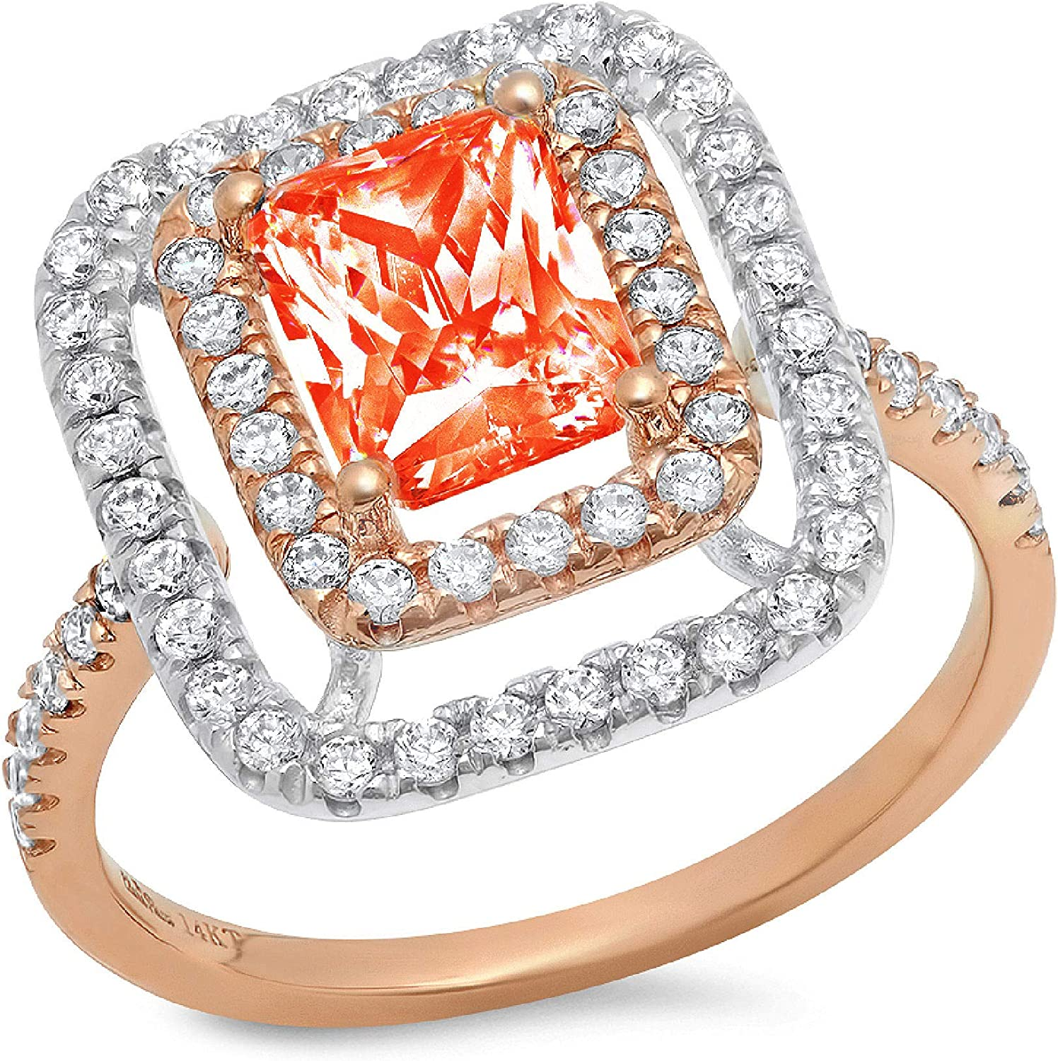 2.66 ct Emerald Cut Double Halo Solitaire with Accent Red Simulated Diamond Ideal VVS1 Engagement Promise Statement Anniversary Bridal Wedding Ring 14k 2 tone Gold