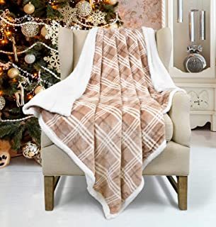 Plaid Sherpa Fleece Blanket, Super Soft Cozy Warm Reversible Buffalo Check Throw Blanket for Couch Sofa Bed, 50