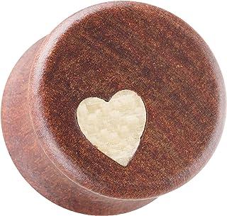 Taffstyle, dilatatore per orecchio, in legno, organico, con cuore, bianco e marrone