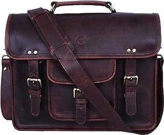 15 inch Vintage Leather Messenger Satchel Bag   Briefcase Laptop Messenger Bag by Aaron Leather (Walnut Brown)