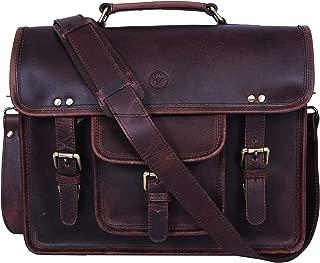 15 inch Vintage Leather Messenger Satchel Bag | Briefcase Laptop Messenger Bag by Aaron Leather (Walnut Brown)