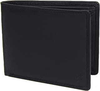 Noir Porte-Monnaie Simple en Cuir v/éritable Nappa avec Protection RFID 12 Compartiments pour Cartes et Pochette pour Monnaie en Format Paysage