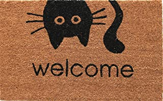 Coco&Coir Fancy | Natural Coir | Printed | Shaped| Latex Backed Door Mat (Meow Welcome)