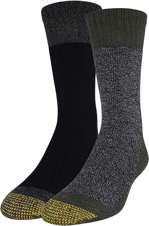 Gold Toe Men's Boot Crew Socks, 2-Pairs, Olive/Black, Large