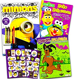 Halloween Coloring Books Super Set for Kids Toddlers -- 3 Halloween Coloring and Activity Books with Crayons and Stickers