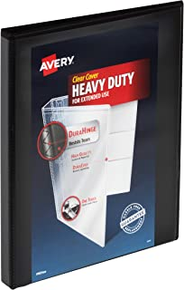 "Avery Heavy Duty View 3 Ring Binder, 0.5"" One Touch Slant Ring, Holds 8.5"" x 11"" Paper, 12 Black Binders (79766)"