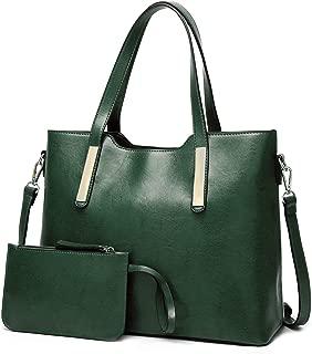 FADPRO Women Tote Bag Shoulder Bag Top Handle Faux Leather Satchel Purse Pouch Clutch Set 2pcs