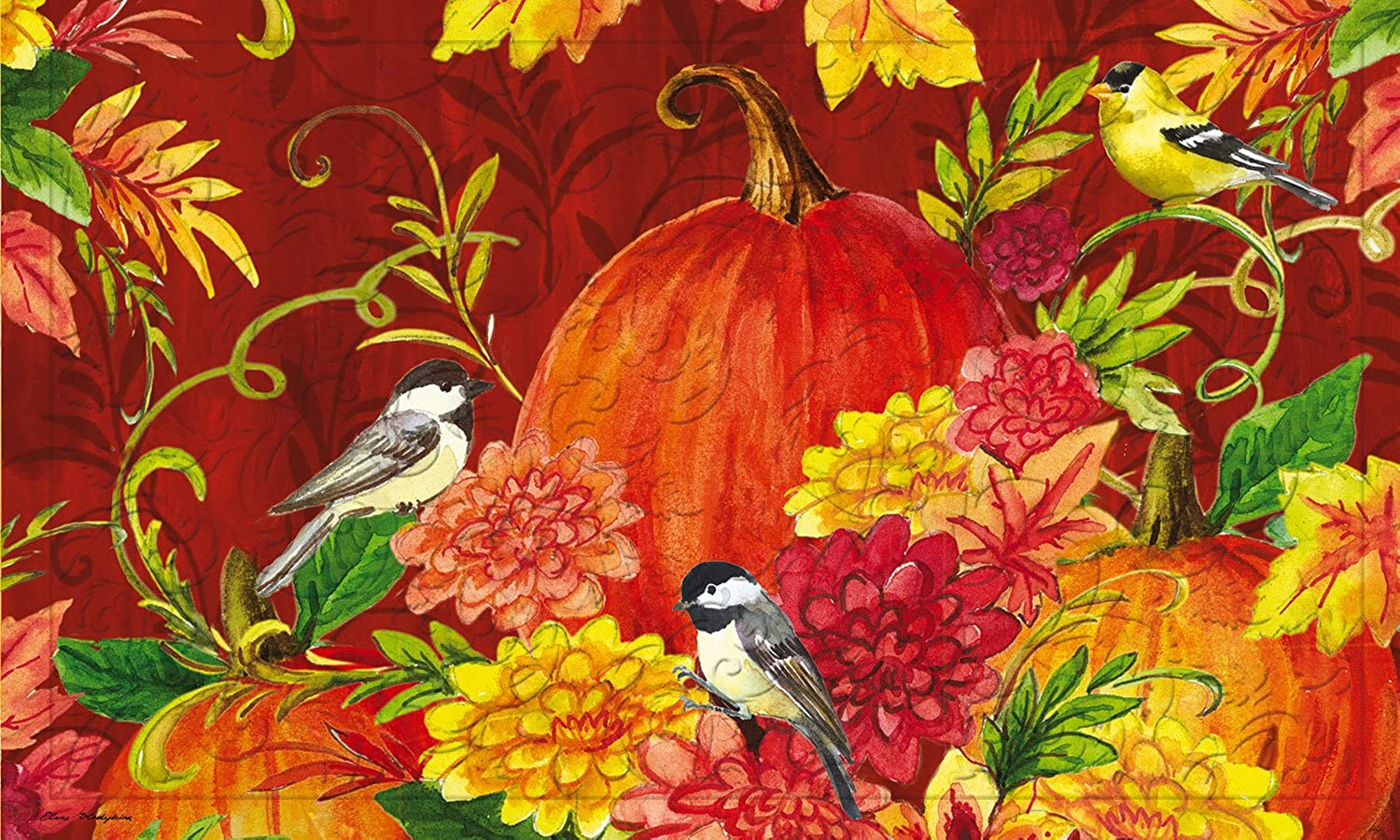Evergreen Garden 41EM2248 Pumpkins with Birds Embossed Floor Mat Door, Multicolor