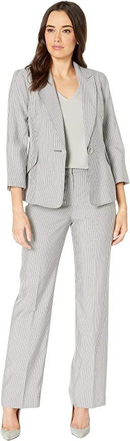 Pinstripe One-Button Notch Collar Pants Suit