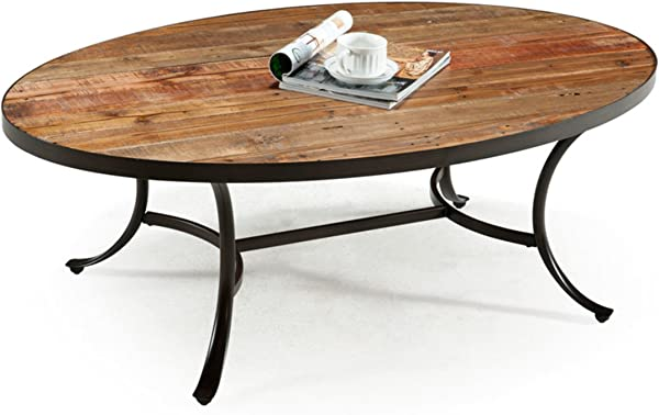 Emerald Home Berkeley Rustic Wood Coffee Table With Oval Top And Metal Base