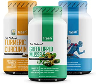 Joint and Inflammation Stack - Green Lipped Mussel - Turmeric - All in One Joint Care Glucosamine HCI, Chondroitin, MSM, C...