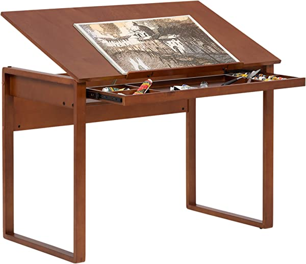 Drafting Table Desk With Tilting Top Closed Storage Drawer Solid Wood Craft Furniture Office Workspace Sonoma Brown Finish