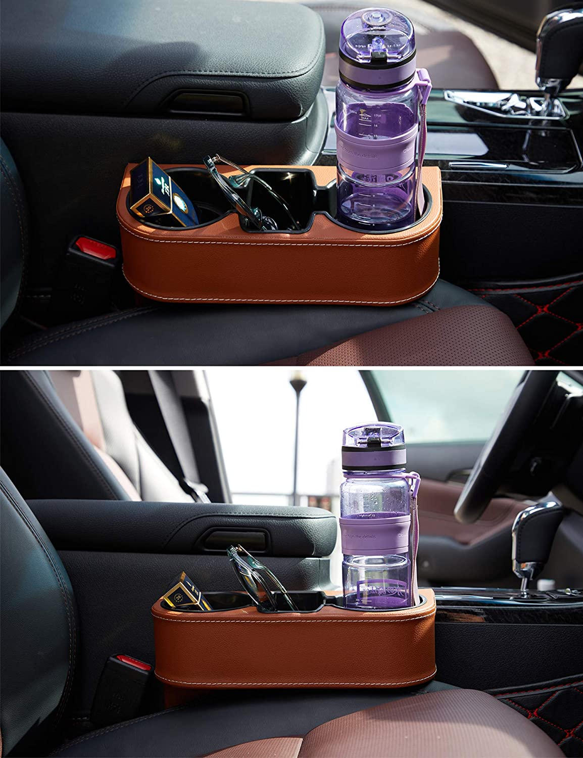 IOKSCTER Multifunctional Car Seat Organizer with PU Leather,Front Between Seat Gap Filler,Seat Cup Cell Phone Drinks Holder Glove Box Car Interior Organizer Trunk SUV Beige
