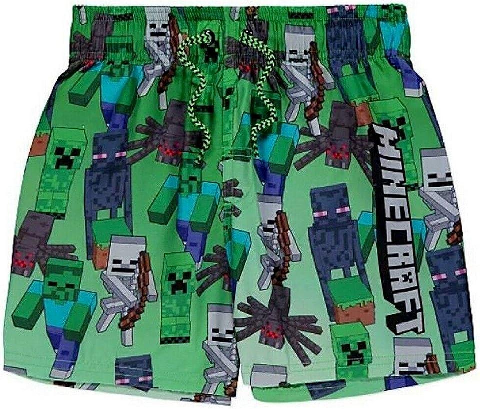 Boy's Swim Shorts, Creeper Print Beach Trunks, Surf Water Boxers, Gaming Theme Swimming Short for Kids