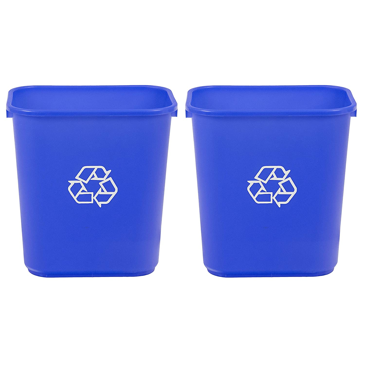 AmazonCommercial 7 Gallon Commercial Office Wastebasket, Blue w/Recycle Logo, 2-Pack