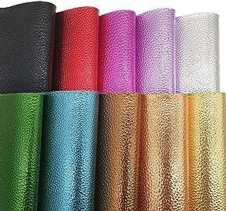 """ZAIONE Metallic Litchi Faux Leather Sheets 10pcs/Set 8"""" x 12"""" (20cm x 30cm) Metallic ColorsFor Foil Decor Shoes Bag Bow Earrings Making DIY Craft (10 Colors)"""