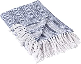 DII Throw, Herringbone Stripe Nautical Blue