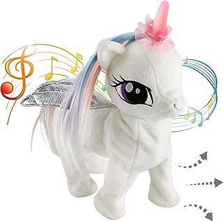 Houwsbaby Musical Unicorn Electronic Toys Interactive Night Light Horn Animated Stuffed Animal Pegasus Plush Singing Walking Gift for Toddlers Kids Halloween Christmas, 13 inches, White