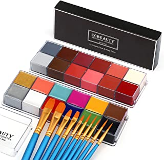 CCBeauty Professional Face Body Paint Oil for Adult 24 Colors Halloween Art Party Fancy Make Up Set with 10 Blue Brushes
