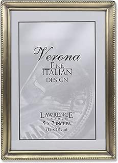 Lawrence Frames Antique Brass 5x7 Picture Frame - Bead Border Design