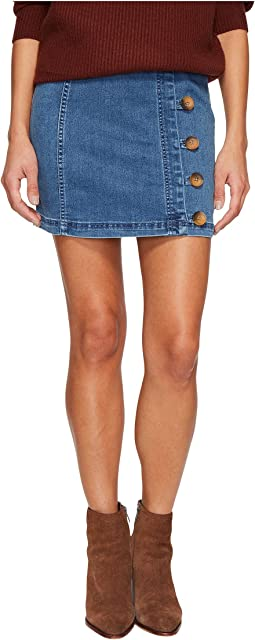 Free People - Little Daisies Indigo Mini Skirt