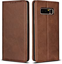 Cavor Samsung Galaxy Note 8 Wallet Case, Slim-Fit Ultra-Thin Genuine Leather with Credit Card Slots & Kickstand Cover Business Folio Flip Phone Case - Brown