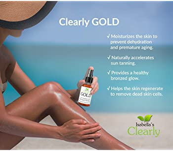 Isabella's Clearly GOLD, 100% Natural Bronzing Tanning Oil. Moisturizing & Hydrating Sun Tan Accelerator Body Oil, He...