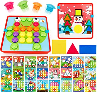 JoyGrow 2 in 1 Button Art Color Matching Mosaic Pegboard Set Toddler Toys Color & Geometry Shape Cognition Skill Learning ...