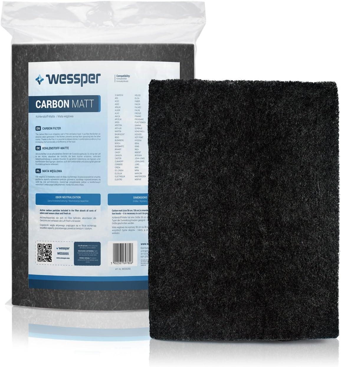 ?WESSPER® Campana extractora filtro para Siemens LC258BA90/02 (Estera filtrante, carbón)
