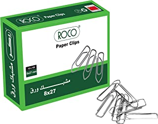 Roco Plated Paper Clip 100-Pieces, 28 mm Length x 8 mm Width, Silver