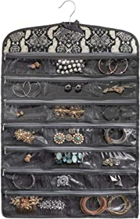 Once Upon a Rose Hanging Jewelry Organizer with Zippers, Over The Door Jewelry Organizer, Double Sided with Clear Pockets, 17
