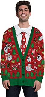 Faux Real Mens Womens Ugly Christmas Sweater Vest Long Sleeve Funny Costume T-Shirt