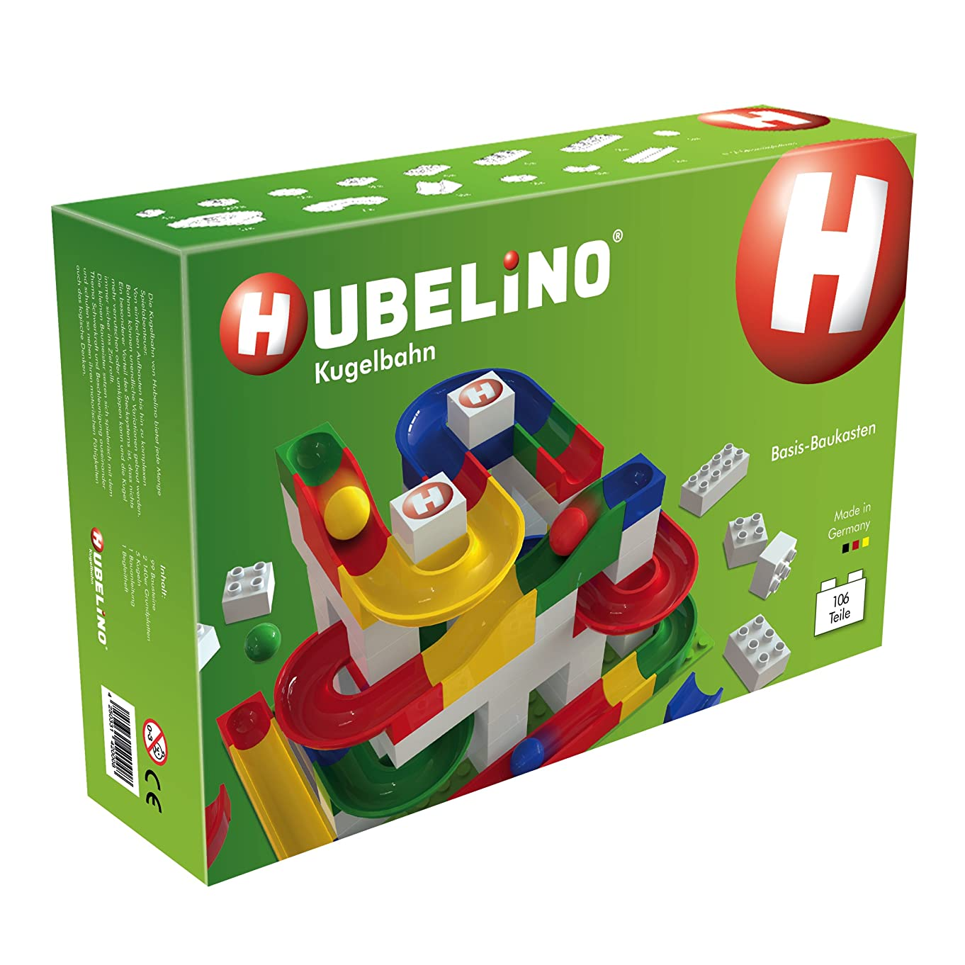 HUBELINO Marble Run - 106-Piece Basic Building Box - the Original! Made in Germany! - Certified and Award-Winning Marble Run - 100% compatible with Duplo