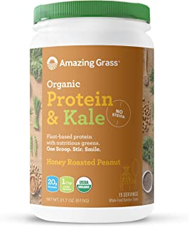 Amazing Grass Organic Vegan Protein & Kale Powder: 20g of Plant Based Protein per serve plus 1 cup of Greens, Honey Roasted Peanut Flavor, 15 Servings