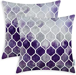 CaliTime Pack of 2 Cozy Throw Pillow Cases Covers for Couch Bed Sofa Farmhouse Manual Hand Painted Colorful Geometric Trellis Chain Print 22 X 22 Inches Main Grey Purple Eggplant