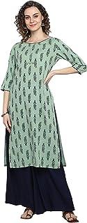جاناسيا الهندي المرأة الخضراء الخفيفة القطن سلوب كورتا مع بالازو