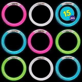 15 Pulseras con Luces LED de plástico - Colores surtidos - Ideal para bolsas de juguetes para fiestas - Navidad, regalos y decoración de Halloween, fiestas, etc. - Incluye 12 baterías adicionales.