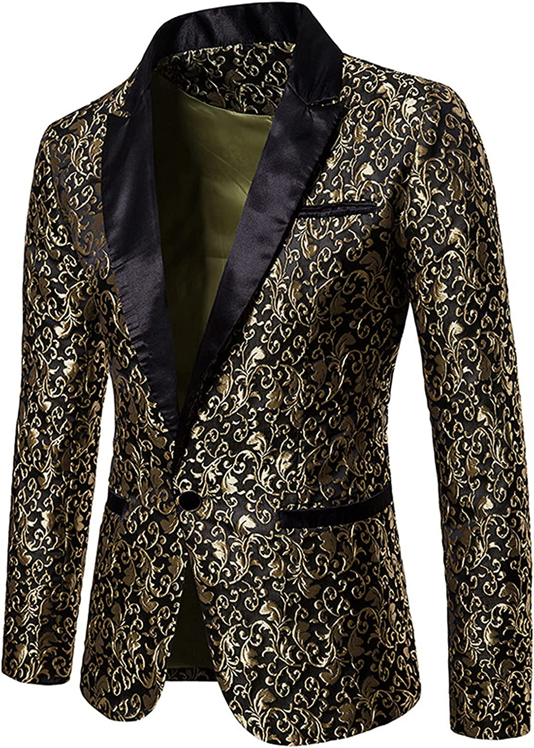Mens Blazer Floral Printed Suit Jacket Notched Lapel One Button Suit Slim Long Sleeve Coat for Business, Prom, Party
