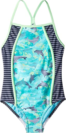 Diamond Geo Splice One-Piece Swimsuit (Big Kids)