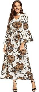 Women Halloween Choker V Neck Fit Flare Flounce Sleeves High Waist Maxi Party Dress